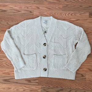 NWT Madewell Cream Cotton Cardigan Sweater. Size S